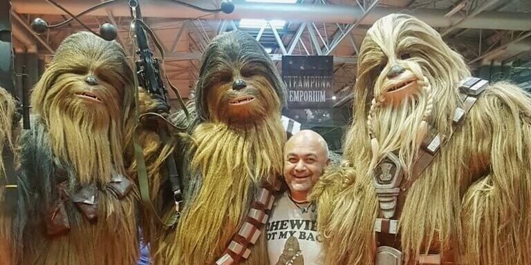 Podiatrist Nav Walia with his wookie friends